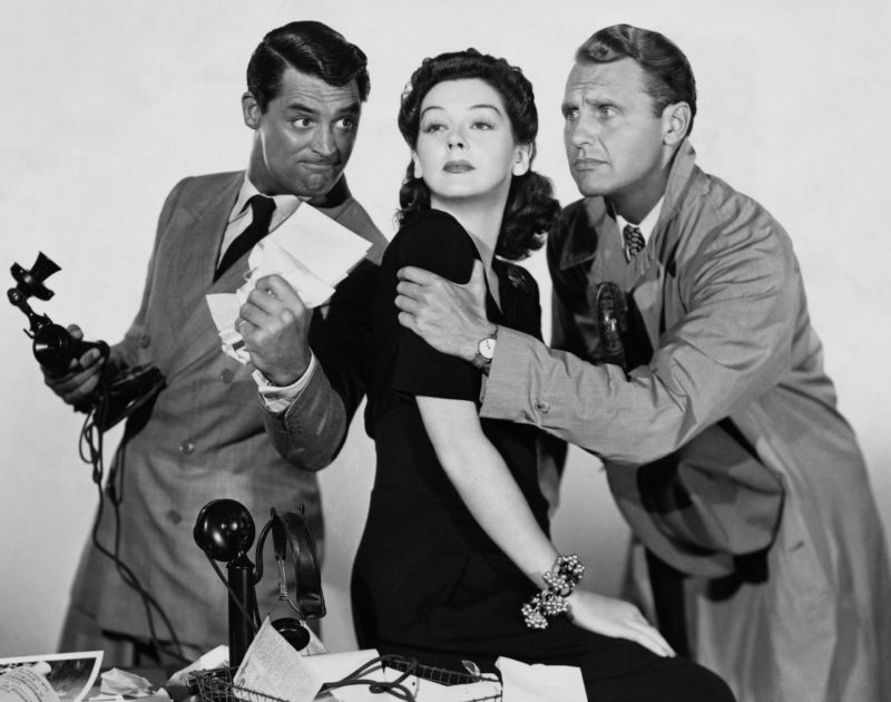 Cary Grant, Rosalind Russell, and Ralph Bellamy in His Girl Friday uit 1940.